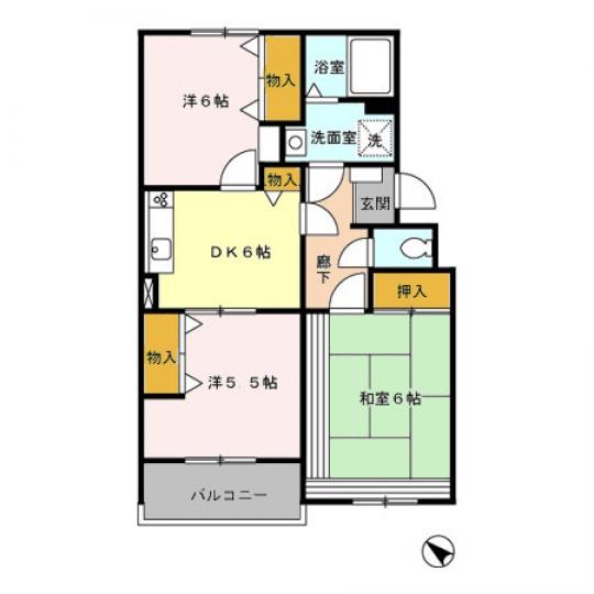 間取り図 - 3DKマンションの個室} - ルームシェアルームメイト
