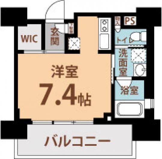 間取り図 - 笑う門には福島きたる!!!??? 1Kの26.53㎡です!!} - ルームシェアルームメイト