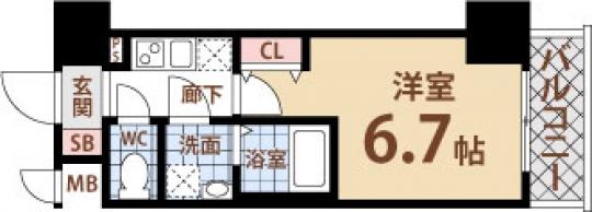 間取り図 - 弁天様~~!ってことで弁天町の綺麗な物件(´・ω・)✌ 1Kの23.40㎡です!!} - ルームシェアルームメイト