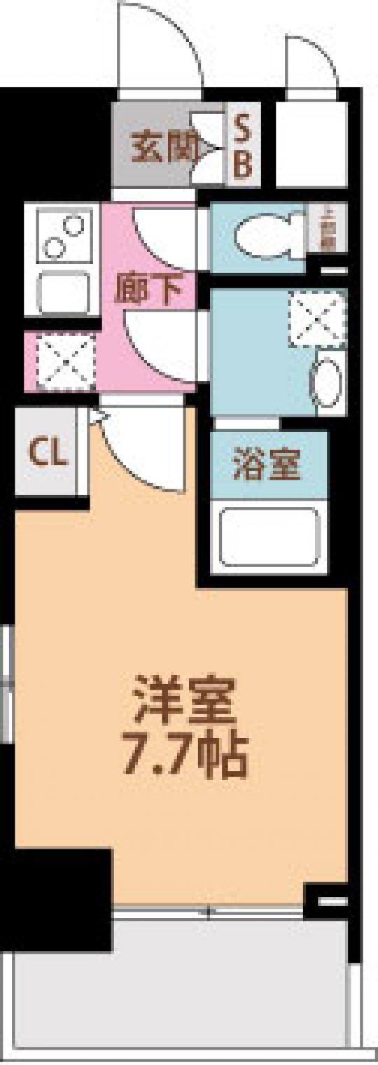 間取り図 - セキュリティーばっちり★しかも…綺麗な一室(⋈◍>◡<◍)。✧♡ 1Kの25.42㎡です!!} - ルームシェアルームメイト