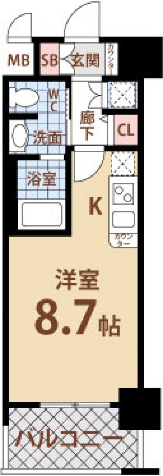 間取り図 - 阪神線&JR線も使えてしかも8.7帖!初期費用ご相談乗ります!} - ルームシェアルームメイト