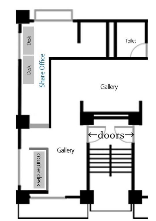 間取り図 - 原宿のアートギャラリーでオフィス、アトリエシェア} - ルームシェアルームメイト