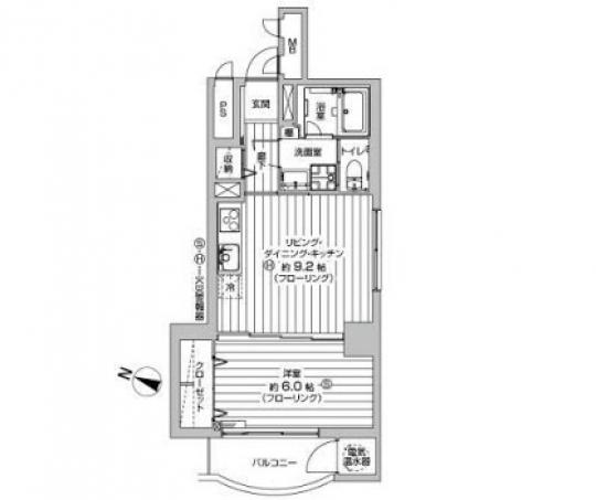 間取り図 - 2名で入居も可【中野駅2分】1DKマンションお貸します。} - ルームシェアルームメイト