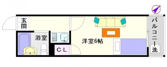 間取り図 - 大阪 大国町1Rマンション} - ルームシェアルームメイト