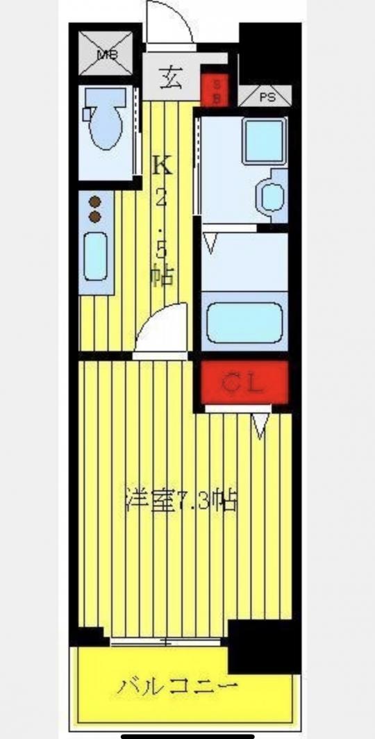 間取り図 - 1K 独立洗面台、浴室乾燥付き 即日に入居可} - ルームシェアルームメイト